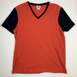 Lacoste Coral w/Black Sleeves V-Neck Men's Size 5